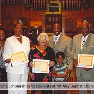 Giving Scholarships to students at Mt Airy Baptist Church